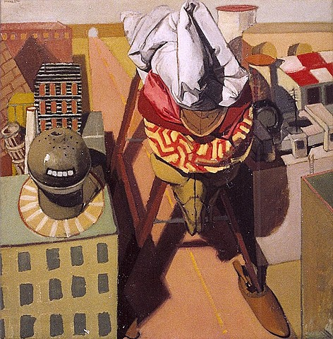 painting of giant figure (after Trojan Horse) in cityscape by Margaret McCann