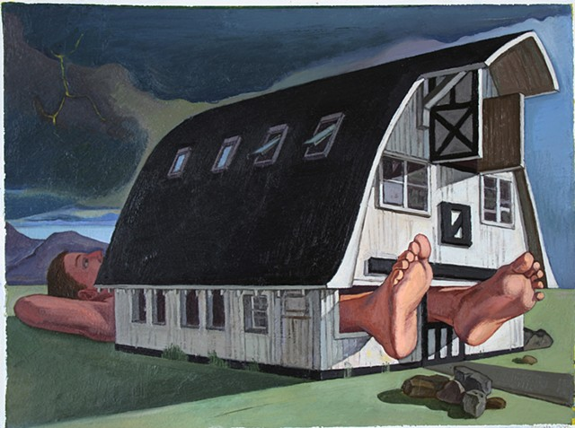 painting of giant figure (model was writer Ann Patchett) in landscape (Millay colony barn) by Margaret McCann