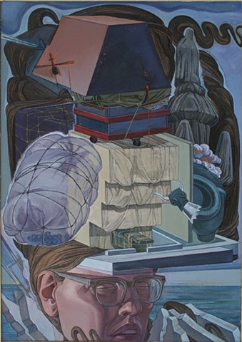 self-portrait painting as Christo creations; homage to 9/11 by Margaret McCann