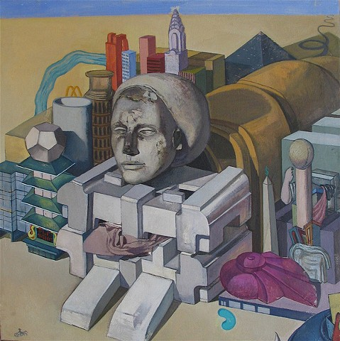 painting of giant figure - turned - still life / cityscape (Egyptian Sphinx) by Margaret McCann