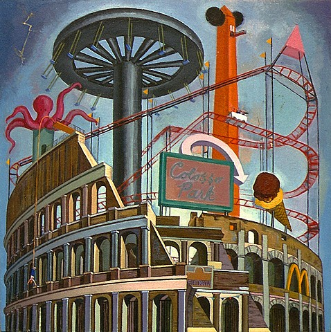 painting of cityscape (Roman Collosseo as Luna Park) by Margaret McCann