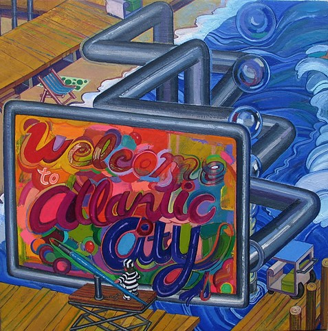 painting of self-portrait as convict in cityscape (Atlantic City boardwalk) by Margaret McCann