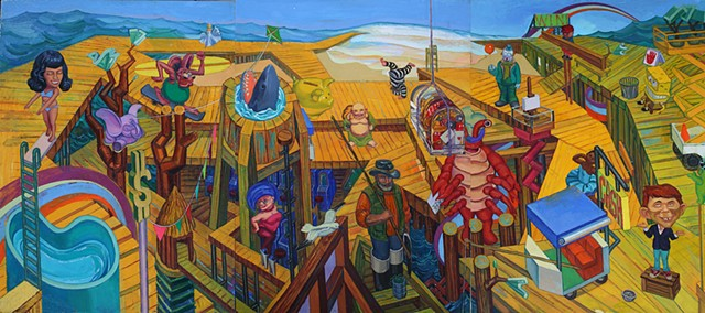 painting of still life - turned - cityscape (Atlantic City boardwalk) by Margaret McCann