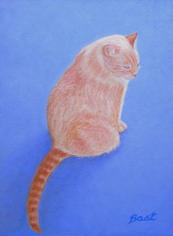 cat portrait, cat painting, flame point siamese