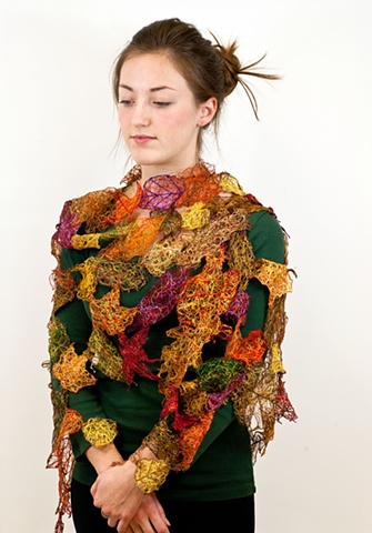 leaf shawl, thread leaves