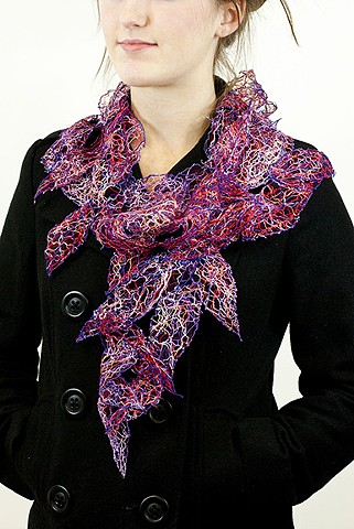 solvy, lazzarine, sewing leaves, beautiful scarf, unique apparel, wearable art