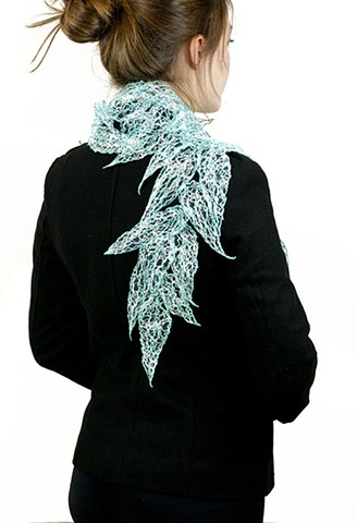 thread leaves, leaf scarf, unique scarf, lazzarine, fiber art, leaf art