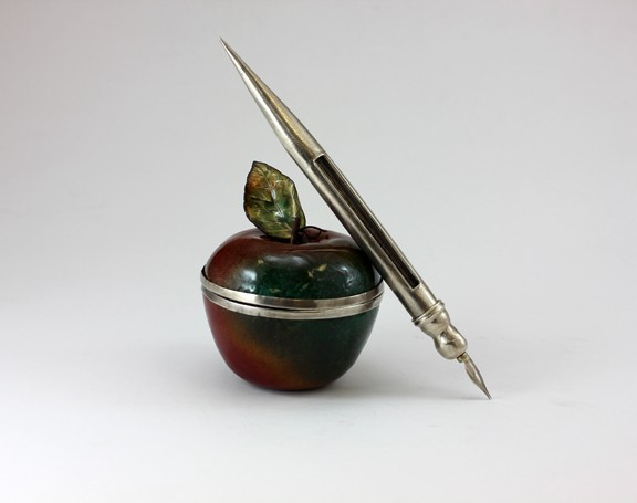 patriarchal art, lazzarine, enameled vessel, pen and inkwell, silver pen