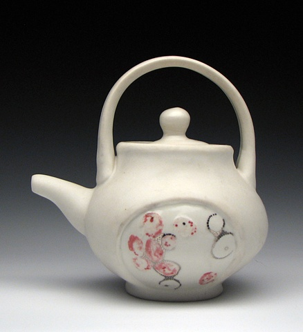 White and Red Teapot