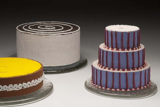 Studio Image of Styrofoam and Caulk Cakes with Glass Plates After the Floats