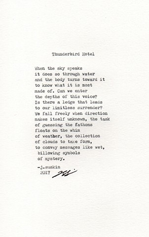 Thunderbird Hotel, Marfa, Texas collaboration with Jacqueline Suskin (who wrote this in response to the photograph)