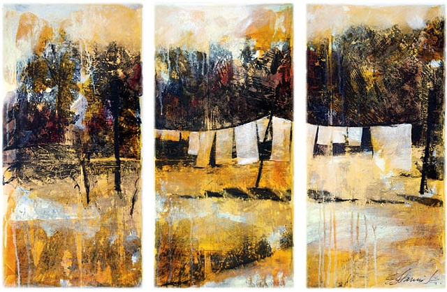 figurative, painting, acrylic, collage, clothes line, the Comstock House, Vermont, warm palette, photo transfer