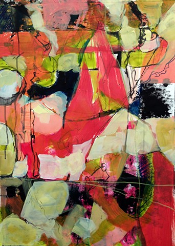 abstract painting, shape, vivid palette, value, line, colorist, artist studio, graphite, acrylic