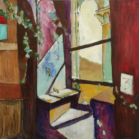 figurative, painting, acrylic, window, light, graphite, italy, spain, bench