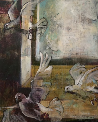 figurative, painting, acrylic, collage, doves, shadows, cool palette, window