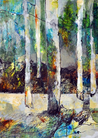 figurative, abstract, texture, color, graphite, trees, cool palette, nature