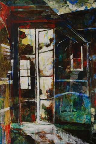acrylic, painting, texture, windows, blue, transparency