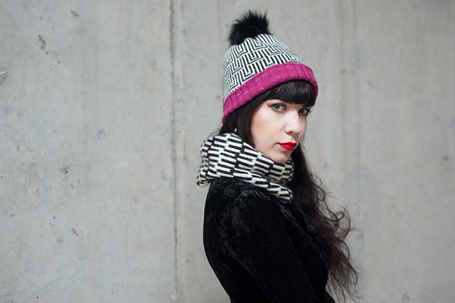 Optic Nerve hat and scarf. Handmade on Brother studio 360 knitting machine.