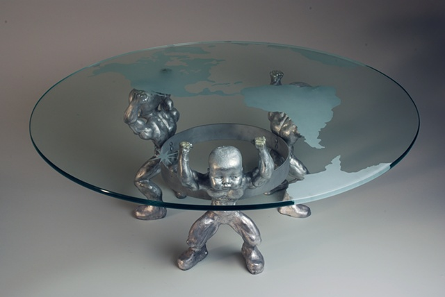 kevin vanek, table, aluminum, glass table, art, art table