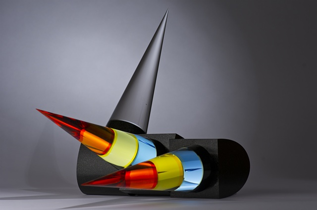 contemporary glass and granite sculpture by Cliff Maier