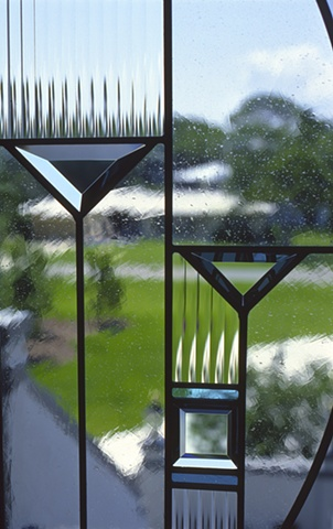 Stained and beveled glass detail