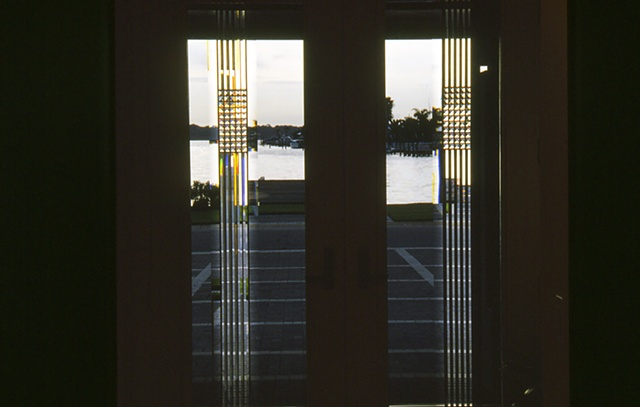 Beveled glass entry.