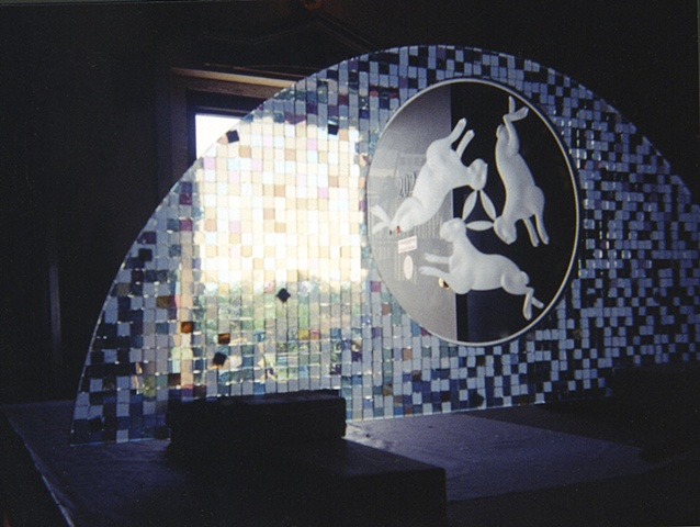 Carved glass, mosaic.