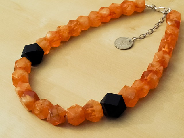 Faceted Amber Resin Beads with Wood Beads