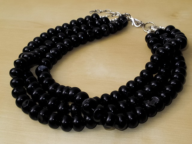 Black Agate with Quartz Necklace - 3 Strands