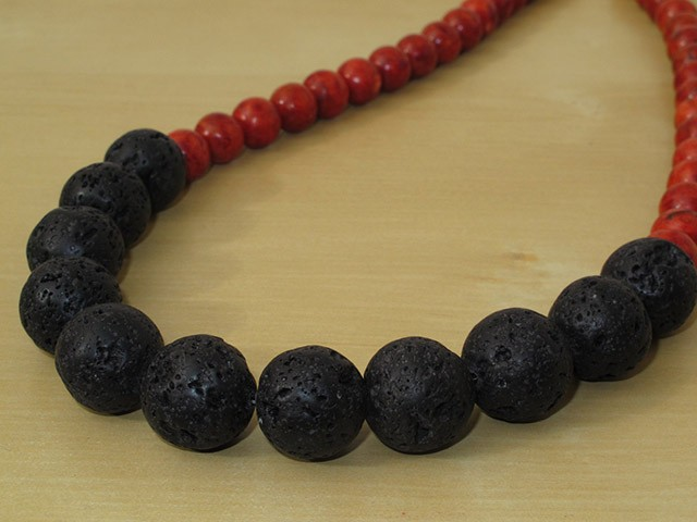 Black Lava Rock Necklace with Red Sponge Coral Beads