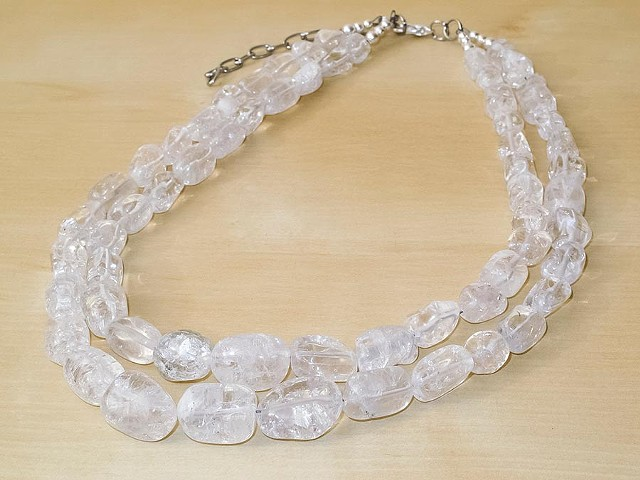 Ice Flake Clear Quartz Necklace - 2 Strands