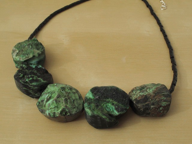 Green Agate Necklace with Wood Beads