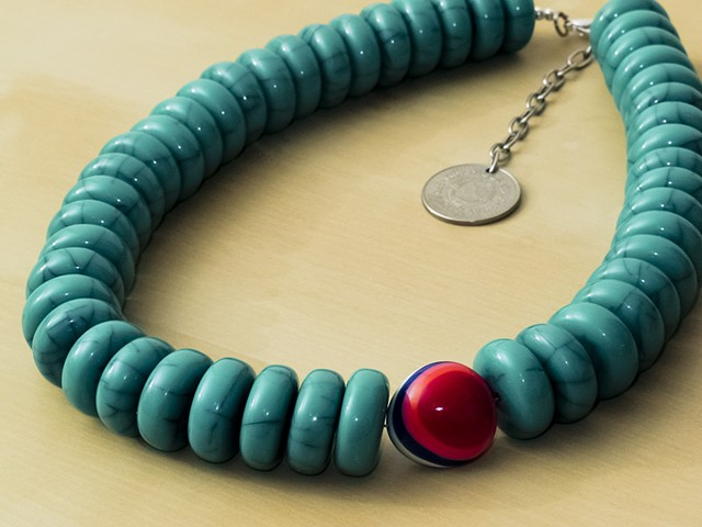 Turquoise Resin Beads with Reversible Bead