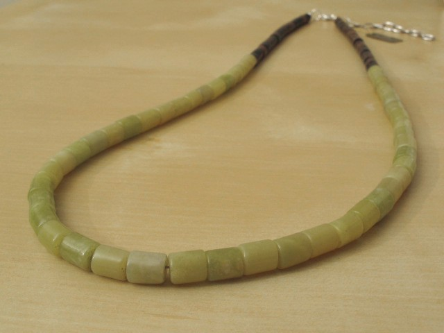 Yellow Jade Necklace & Wood Beads