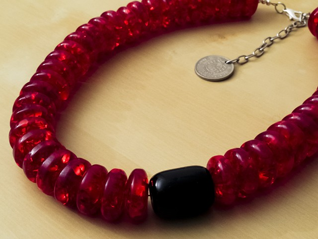 Ice Flake Red Resin Beads with Black Bead
