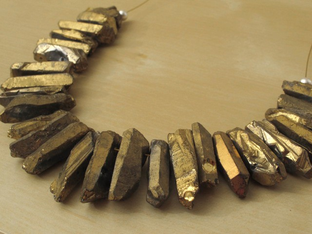 Gold Painted Quartz Nugget Necklace