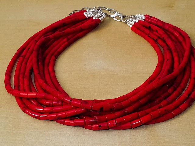Smooth Red Bamboo Coral - 10 Strands