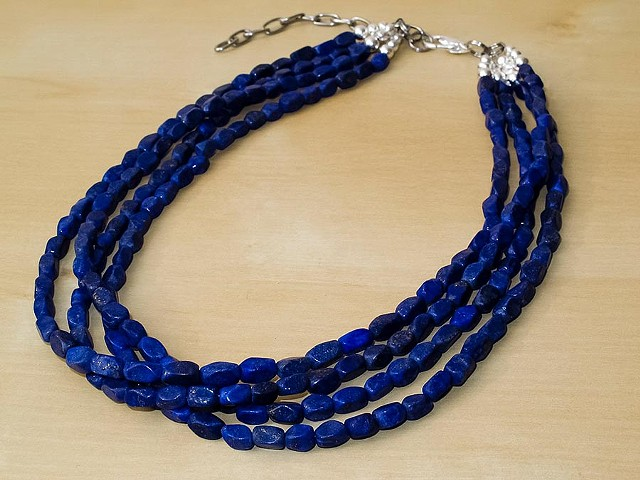 Lapis Lazuli Faceted Necklace - 4 Strands