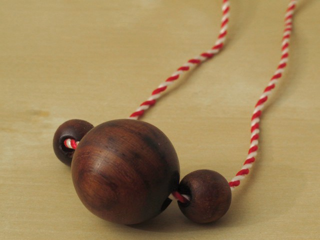 3 Wood Beads on Vintage Red & White Cord Necklace