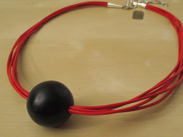 Red Leather Cord Necklace with Black Wood Bead - 16 Strands