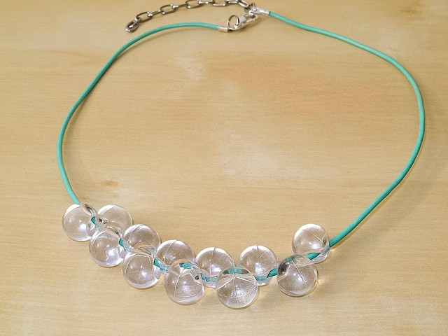 Clear Lucite Teardrop Beaded Necklace on Mint Green Leather