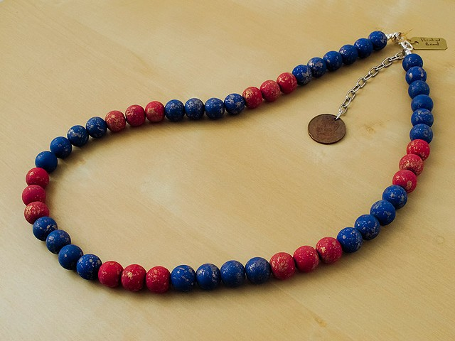 Red & Blue with Gold Flecks Painted Beads