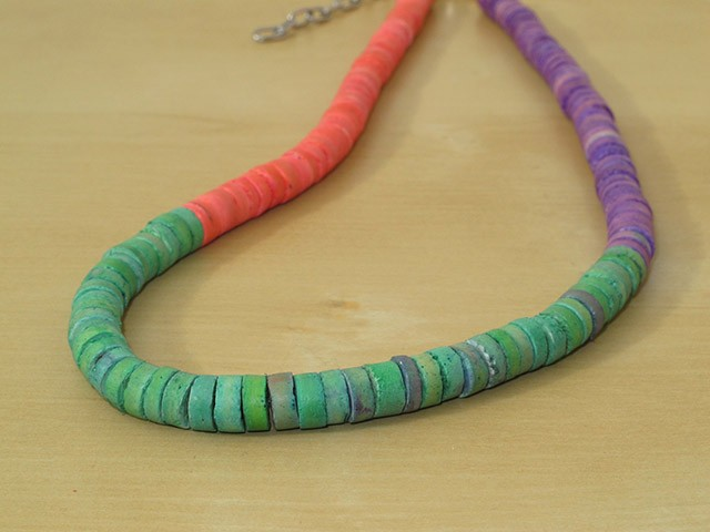 Green, Purple & Pink Wood Necklace