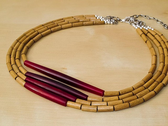Dark Red Horn Hairpipe Necklace with Wood Beads