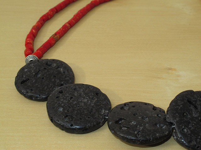 Black Lava Rock Necklace with Red Bone