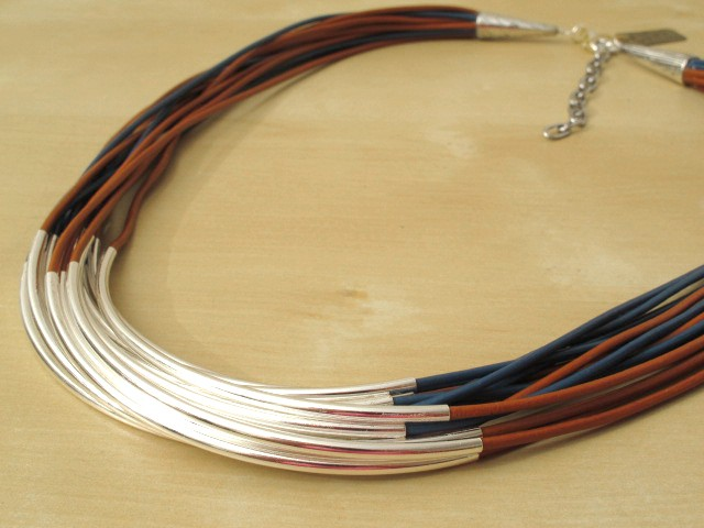 Blue & Brown Leather Cord Necklace with Silver-Plated Tubes - 16 Strands