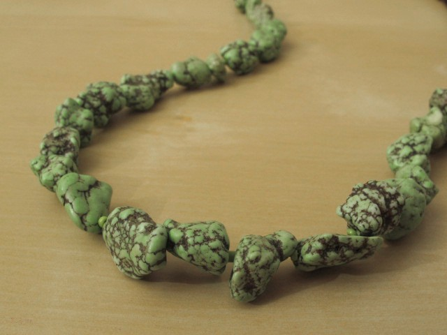 Magnesite Green Nugget Necklace