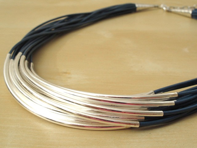 Blue Leather Cord Necklace with Silver-Plated Tubes - 16 Strands