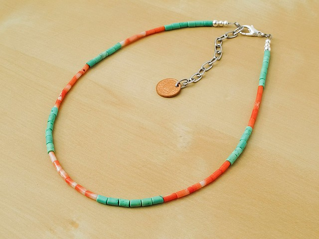Orange Bamboo Coral & Mint Green Chalk Tuquoise