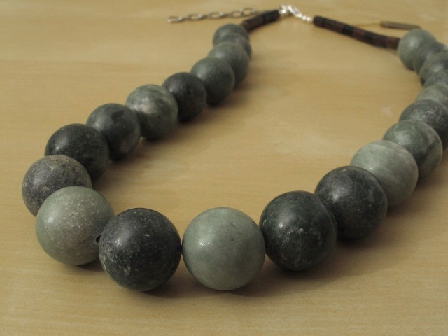 Green Marble Necklace with Wood Beads